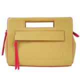 COACH 皮革荔枝紋手提包(駝x桃)51635