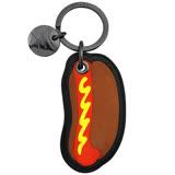 COACH 熱狗造型皮革鑰匙圈-咖啡色