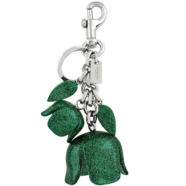 COACH 立體花朵亮片鑲嵌大型鑰匙圈吊飾-綠色