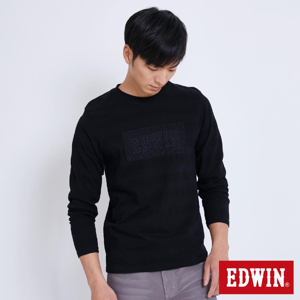 EDWIN 包浩斯凸版圓點LOGO長袖T恤-男-黑色