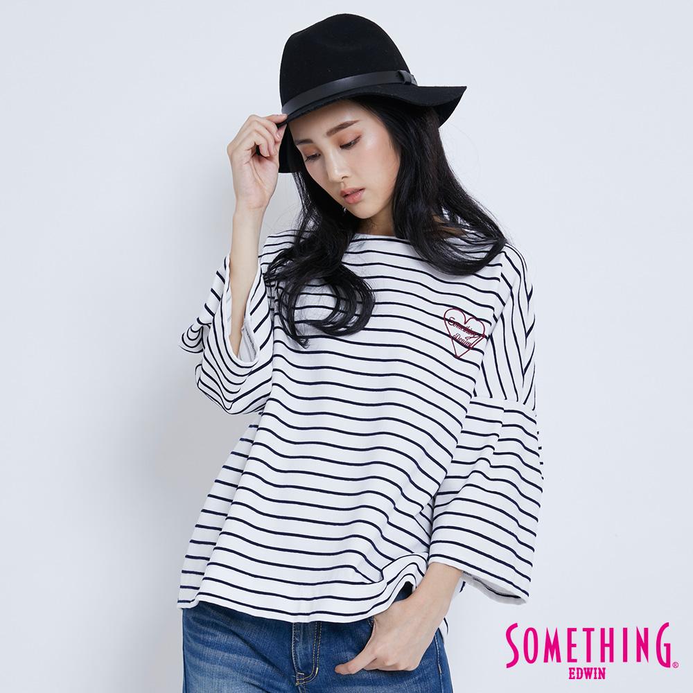 SOMETHING 圓領條紋寬袖T恤-女-黑色