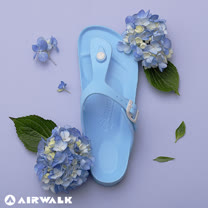 AIRWALK-AB拖 EVA中性T字羅馬夾腳拖鞋-島嶼天堂藍