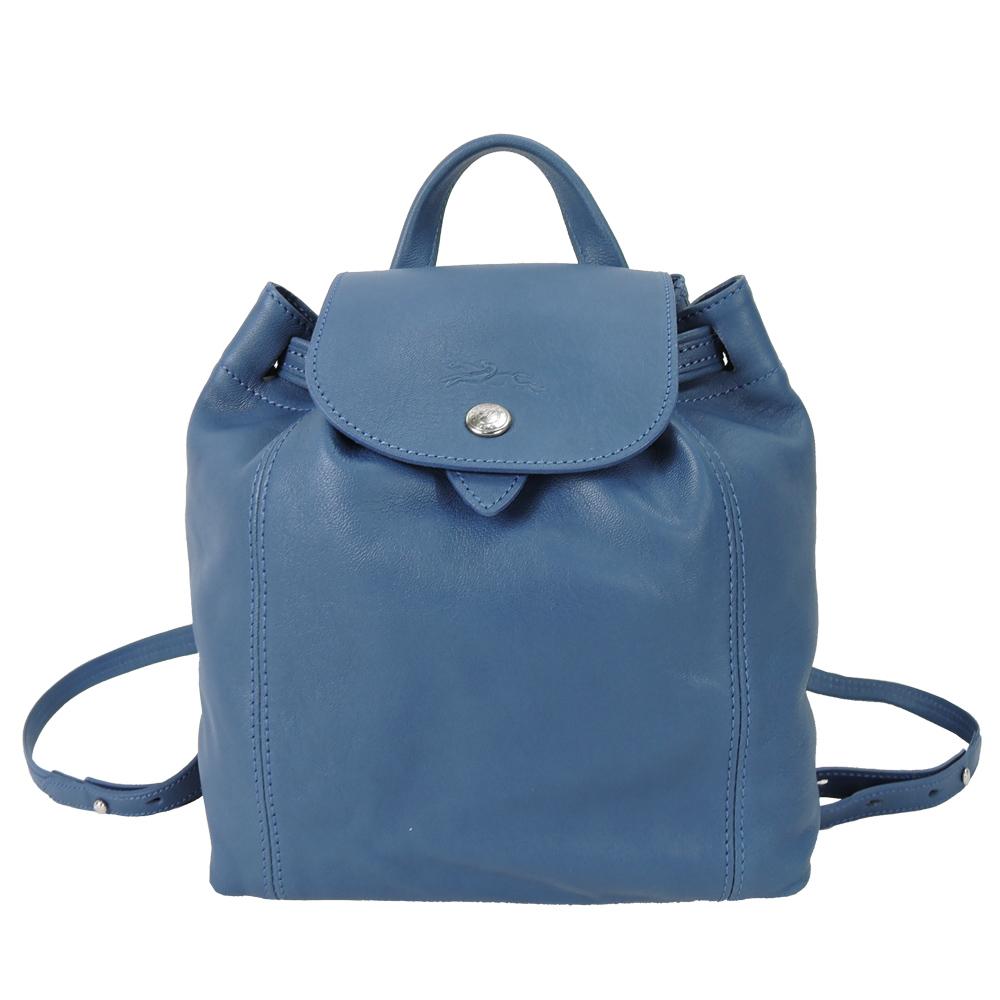 LONGCHAMP Le Pliage Cuir系列皮革後背包(小/機師藍)