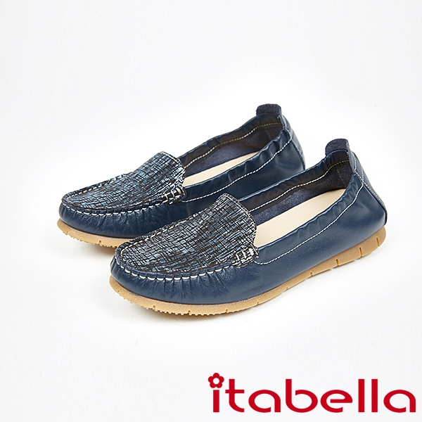 itabella.拼接爆裂紋休閒鞋(7569-50藍)