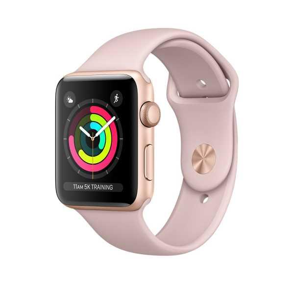 Apple Watch Series 3 GPS 42 公釐金色鋁金屬錶殼搭配粉沙色運動型錶帶 【贈專用螢幕保貼+保護套】