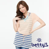 betty's貝蒂思 雪紡外罩星星蕾絲背心兩件式上衣(藍條紋)
