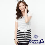 betty's貝蒂思 雪紡外罩星星蕾絲背心兩件式上衣(黑條紋)