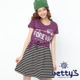 betty's貝蒂思 衣襬綁結條紋兩件式洋裝(紫色)