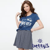 betty's貝蒂思 衣襬綁結條紋兩件式洋裝(深藍)