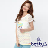 betty's貝蒂思 亮片針織外罩條紋背心兩件式上衣(白色)