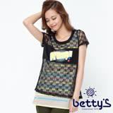 betty's貝蒂思 亮片針織外罩條紋背心兩件式上衣(黑色)