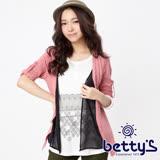 betty's貝蒂思 雪紡拼接蕾絲印花假三件上衣(藕粉)