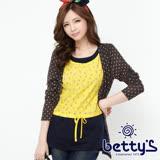 betty's貝蒂思 圓點針織雪紡拼接假三件上衣(深灰)