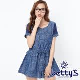betty's貝蒂思 針織蕾絲圓點牛仔長版襯衫(深藍)
