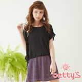 betty's貝蒂思 層次格紋兩件式雪紡洋裝(黑色)