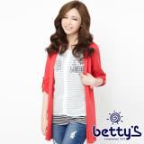 betty's貝蒂思 雪紡條紋針織外罩兩件式上衣(紅色)