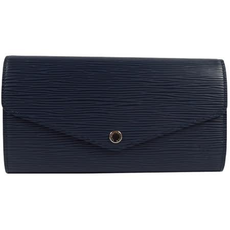 Louis Vuitton LV M60585 Sarah EPI水波紋皮革發財包扣式長夾.深藍 現貨
