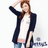 betty's貝蒂思 雪紡條紋針織外罩兩件式上衣(藍色)