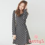 betty's貝蒂思 領部亮鑽滿版圓點洋裝(黑色)