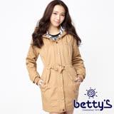 betty's貝蒂思 條紋拼接腰際抽繩連帽大衣(卡其)