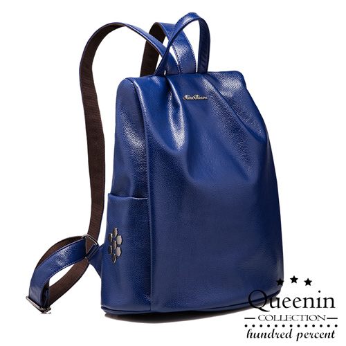 DF Queenin日韓 - 日本人氣六角鉚釘款防盜皮革後背包-共2色