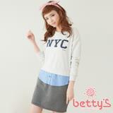 betty's貝蒂思 牛仔拼接假三件洋裝(米白色)