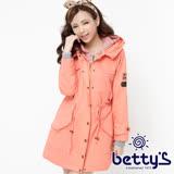 betty's貝蒂思 條紋拼接縮腰連帽大衣(粉橘)