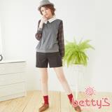 betty's貝蒂思 LOGO吊飾格紋混羊毛短褲(咖啡色)