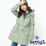 betty's貝蒂思 條紋拼接縮腰連帽大衣(淺綠)