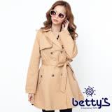 betty's貝蒂思 衣襬傘狀腰身顯瘦繫帶大衣(卡其)