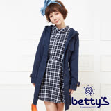 betty's貝蒂思 兩件式連帽大衣+格紋洋裝(藍色)
