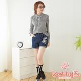 betty's貝蒂思 老虎拼布豹紋牛仔短褲(藍色)
