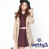 betty's貝蒂思 兩件式連帽大衣+格紋洋裝(卡其)