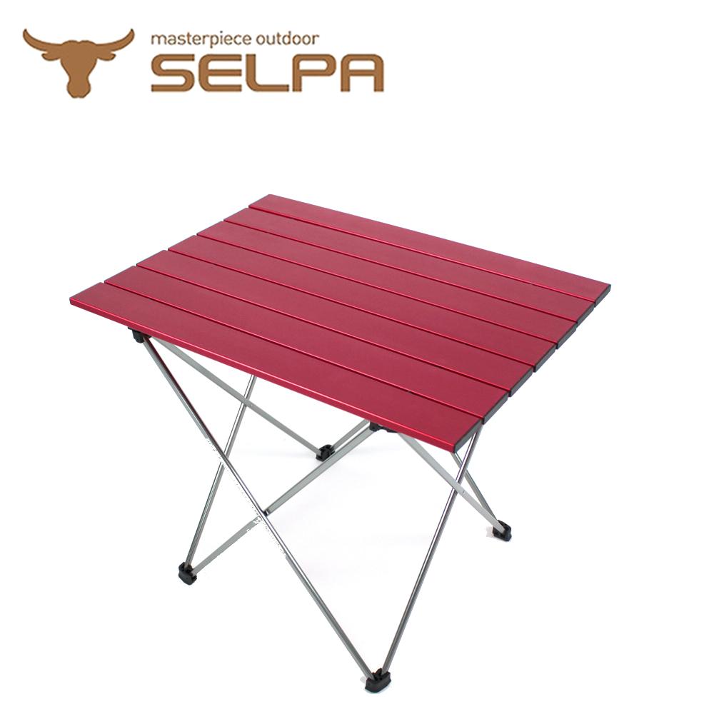 【韓國SELPA】超輕量鋁合金折疊桌/蛋捲桌(紅色/加大型)