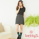 betty's貝蒂思 混羊毛圓點拉鍊短裙(黑色)