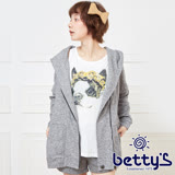 betty's貝蒂思 狗狗插圖設計兩件式連帽外套(深灰)