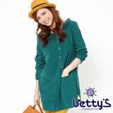 betty's貝蒂思 蕾絲拼接純棉長版連帽外套(綠色)