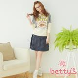 betty's貝蒂思 直紋排釦混羊毛及膝裙(藍色)