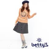 betty's貝蒂思 直紋排釦混羊毛及膝裙(灰色)