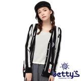 betty's貝蒂思 跳色直紋排釦針織外套(條紋黑)