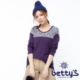 betty's貝蒂思 領部混色拼接上衣(紫色)