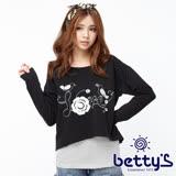 betty's貝蒂思 刺繡圖案條紋背心兩件式上衣(黑色)