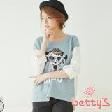 betty's貝蒂思 狗頭圖案拼接純棉上衣(藍色)