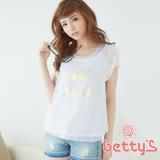 betty's貝蒂思 汽車燙金圖案兩件式上衣(白色)