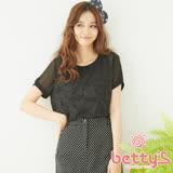 betty's貝蒂思 立體蕾絲鉤花雪紡上衣(黑色)