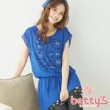 betty's貝蒂思 幾何簍空假兩件雪紡上衣(藍色)