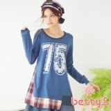 betty's貝蒂思 格紋拼接數字圖案針織衫(藍色)