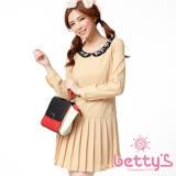 betty's貝蒂思 寶石領口裙身抓褶雪紡洋裝(粉膚)