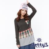 betty's貝蒂思 圓點格紋拼接長版棉麻上衣(墨綠色)