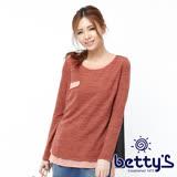 betty's貝蒂思 雪紡拼接簍空針織設計上衣(桔色)